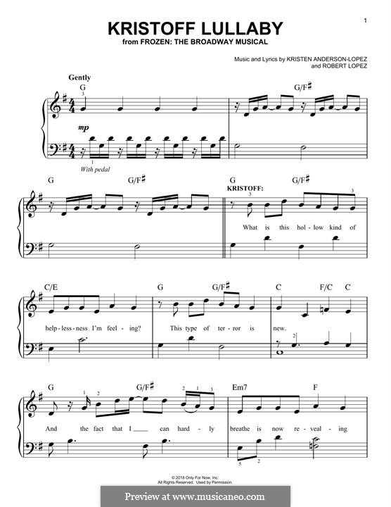 Frozen: The Broadway Musical: Kristoff Lullaby by Robert Lopez, Kristen Anderson-Lopez