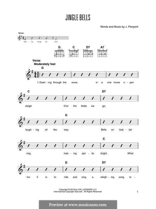 Jingle Bells (Printable scores): Para guitarra com guia by James Lord Pierpont