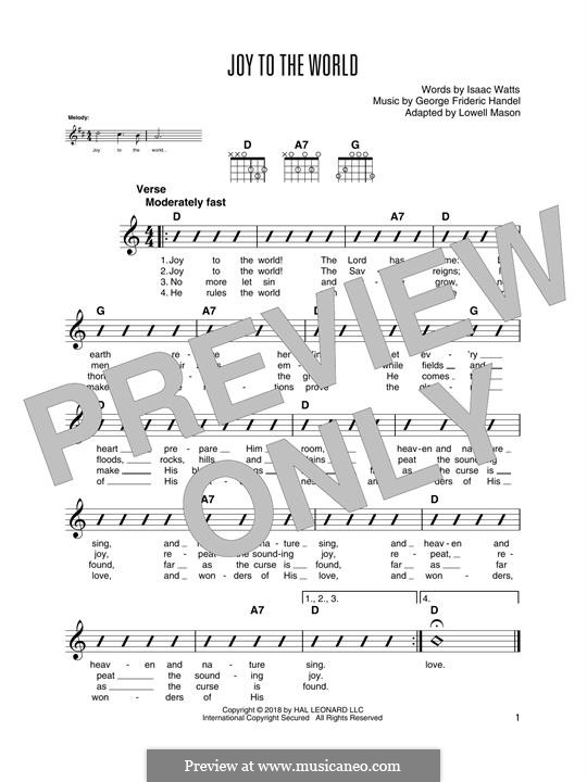 Joy to the World (Printable Scores): Para guitarra com guia by Georg Friedrich Händel