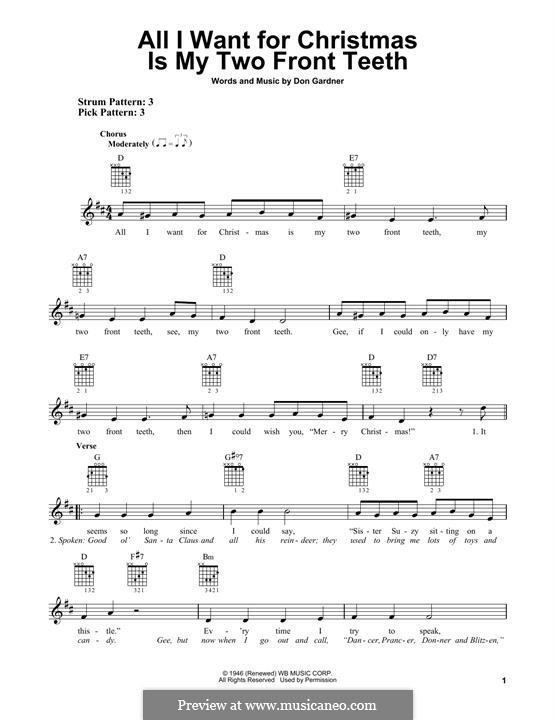 All I Want for Christmas Is My Two Front Teeth: For guitar with tab (Spike Jones/the City Slickers) by Don Gardner