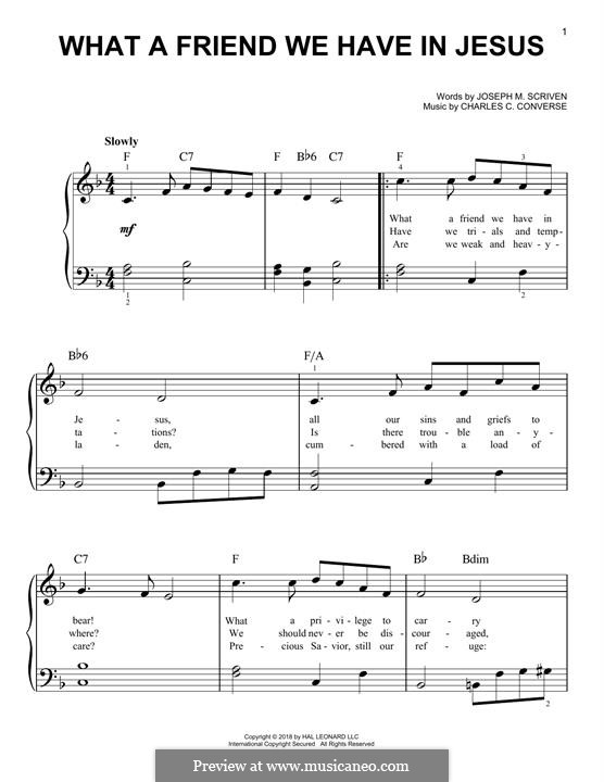What a Friend We Have in Jesus (Printable): Para Piano by Charles Crozat Converse