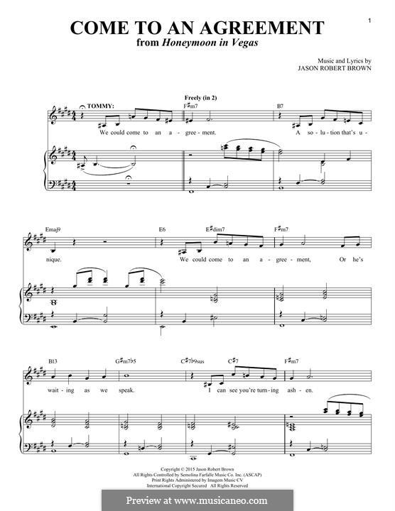 Come to an Agreement: Para vocais e piano by Jason Robert Brown