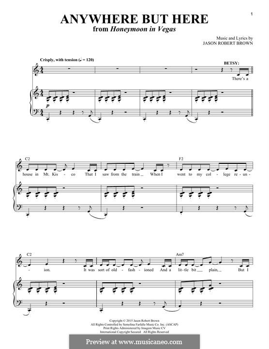 Anywhere But Here: Para vocais e piano by Jason Robert Brown