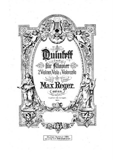 Piano Quintet No.2 in C Minor, Op.64: partitura by Max Reger
