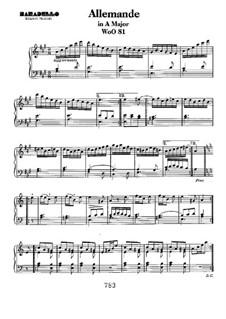 Allemande in A Major, WoO 81: Para Piano by Ludwig van Beethoven