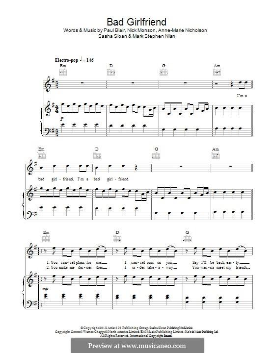 Bad Girlfriend (Anne-Marie): Para vocais e piano (ou Guitarra) by Paul Blair, Nick Monson, Anne-Marie Nicholson, Mark Nilan, Sasha Sloan