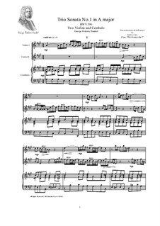 Trio Sonata in A major for Two Violins and Cembalo, HWV 396 Op.5 No.1: Trio Sonata in A major for Two Violins and Cembalo by Georg Friedrich Händel