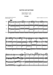 Bastien and Bastienne, K.50: Arranged for string quartet accompaniment - score by Wolfgang Amadeus Mozart