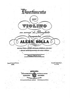 Divertissement for Violin and Piano, BI 295: Divertissement for Violin and Piano by Alessandro Rolla