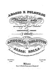 Adagio and Polonaise for Violin and Orchestra, BI 484: Adagio and Polonaise for Violin and Orchestra by Alessandro Rolla
