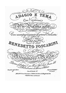 Adagio and Theme with Variations for Violin and Orchestra, BI 488: Adagio and Theme with Variations for Violin and Orchestra by Alessandro Rolla
