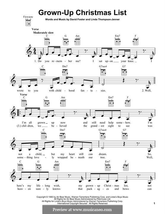 Grown-Up Christmas List: para ukulele by David Foster, Linda Thompson-Jenner