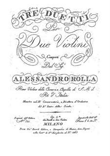 Three Duos for Two Violins, BI 231, 135, 158 Op.5: Três duetos para dois violinos by Alessandro Rolla