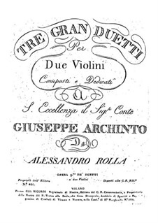 Three Grand Duos for Two Violins, BI 170, 157, 209 Op.9: Three Grand Duos for Two Violins by Alessandro Rolla