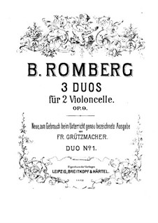 Three Duos for Two Cellos, Op.9: violoncelo parte I by Bernhard Romberg