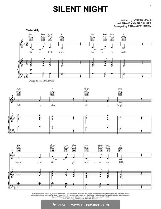 Silent Night (Printable): For voice and piano or guitar (Pentatonix) by Franz Xaver Gruber