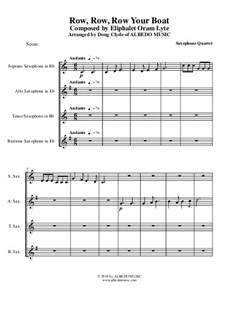 Row, Row, Row Your Boat: para quarteto de saxofone by folklore