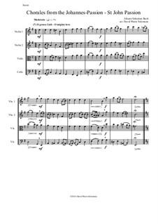 St John Passion, BWV 245: Chorales, for string quartet by Johann Sebastian Bach