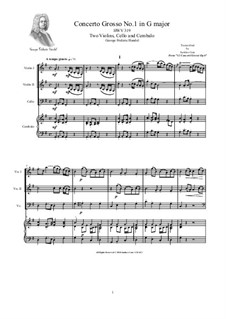 Concerto Grosso No.1 in G Major, HWV 319: Version for two violins, cello and cembalo (or piano) by Georg Friedrich Händel