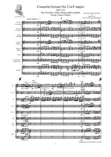 Concerto Grosso No.2 in F Major, HWV 320: partituras completas, partes by Georg Friedrich Händel
