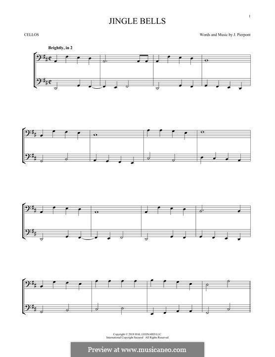 Jingle Bells (Printable scores): para dois violinos by James Lord Pierpont