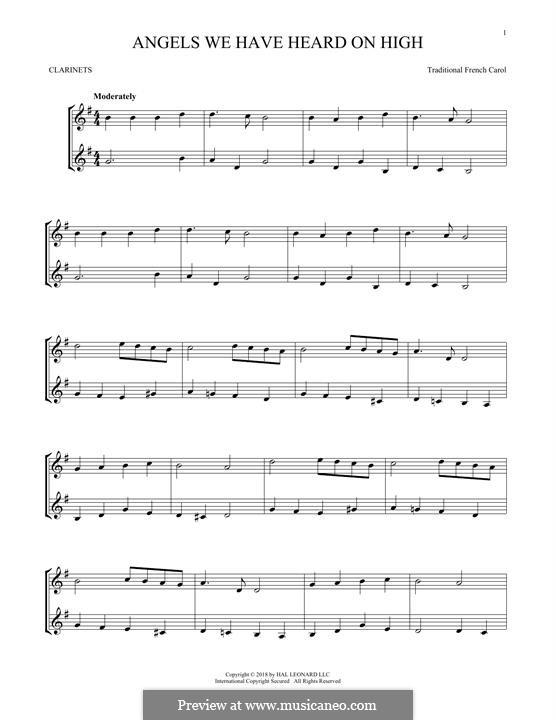 Angels We Have Heard on High: para duas clarinetas by folklore