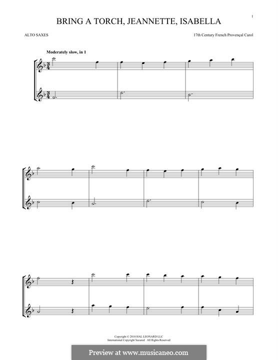 Bring a Torch, Jeannette Isabella: para dois alto saxophones by folklore