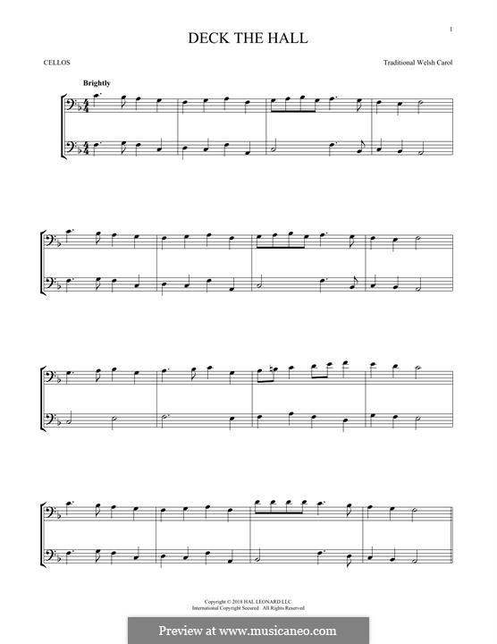 Deck the Hall (Printable): para dois violinos by folklore