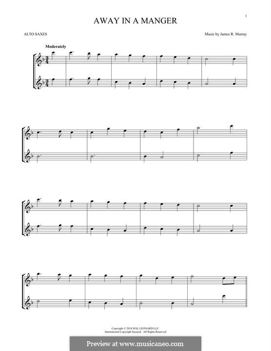 Away in a Manger (Printable Scores): para dois alto saxophones by James R. Murray