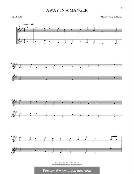 Away in a Manger (Printable Scores): para duas clarinetas by James R. Murray