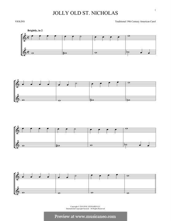 Jolly Old St. Nicholas: para dois violinos by folklore