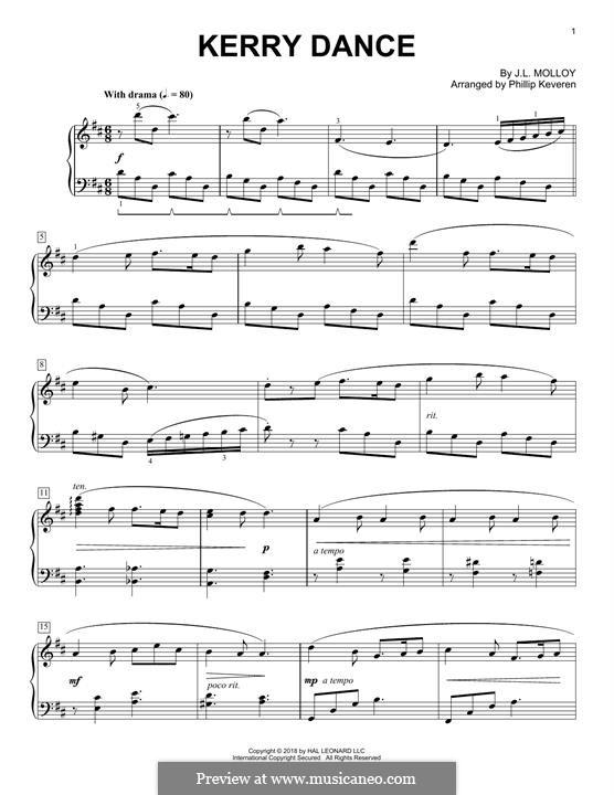 The Kerry Dance: Facil para o piano by James L. Molloy