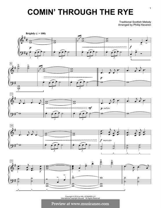 Comin' thro' the Rye: Facil para o piano by folklore