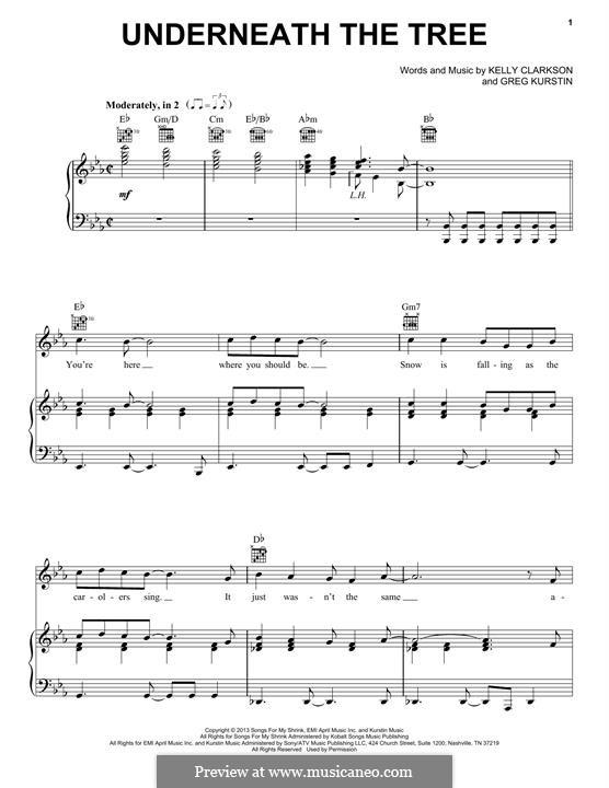 Underneath the Tree: Para vocais e piano (ou Guitarra) by Greg Kurstin, Kelly Clarkson