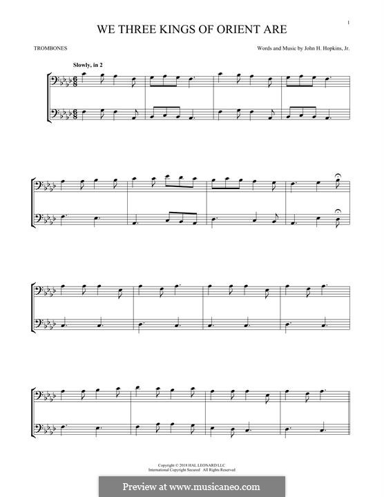 We Three Kings of Orient are (Printable Scores): For two trombones by John H. Hopkins Jr.