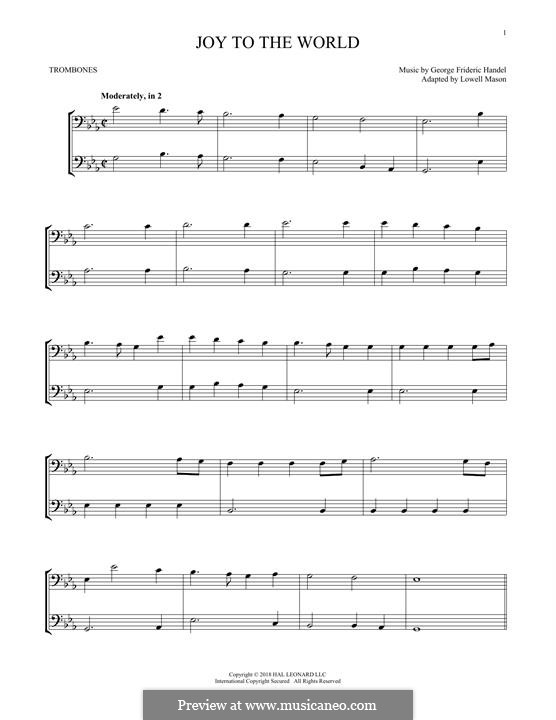Joy to the World (Printable Scores): For two trombones by Georg Friedrich Händel