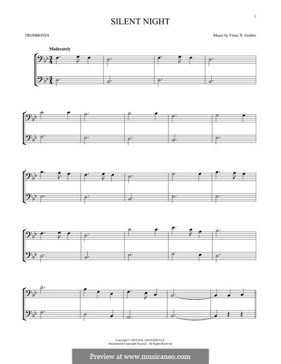 Silent Night, for Two Instruments: For two trombones by Franz Xaver Gruber