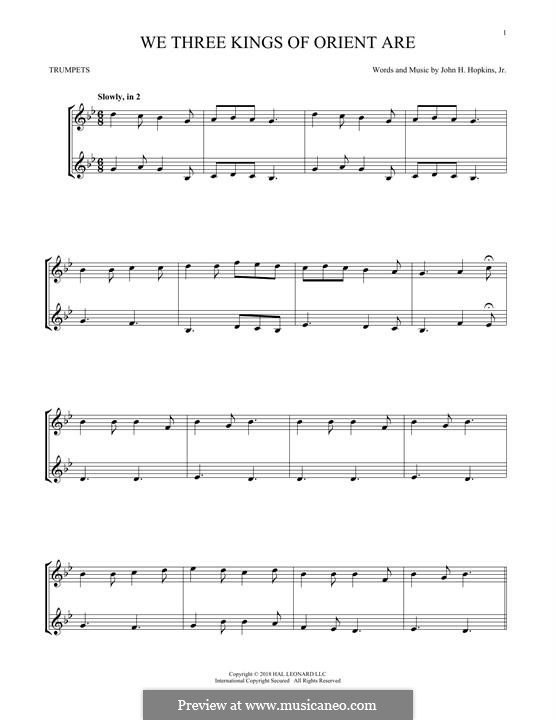 We Three Kings of Orient are (Printable Scores): For two trumpets by John H. Hopkins Jr.
