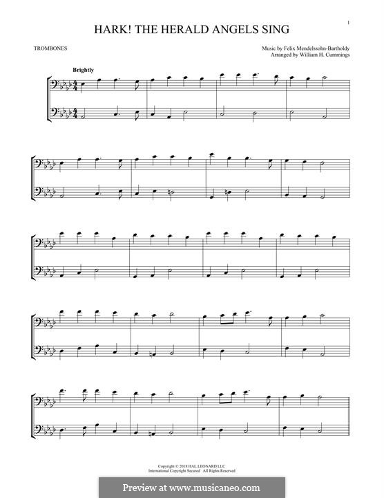 Hark! The Herald Angels Sing: For two trombones by Felix Mendelssohn-Bartholdy