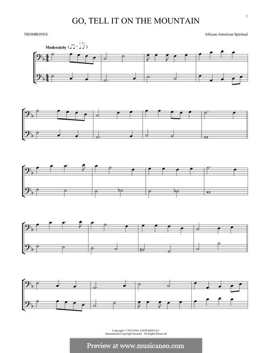 Go, Tell it on the Mountain (Printable Scores): For two trombones by folklore
