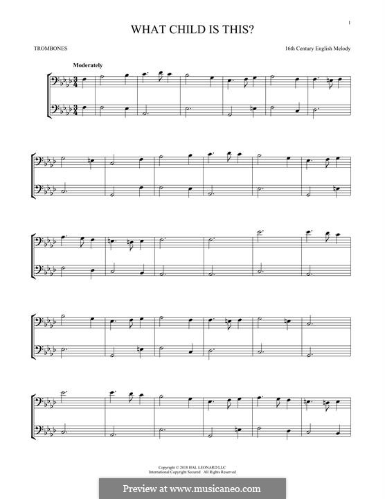 What Child is This (Christmas Carol): For two trombones by folklore