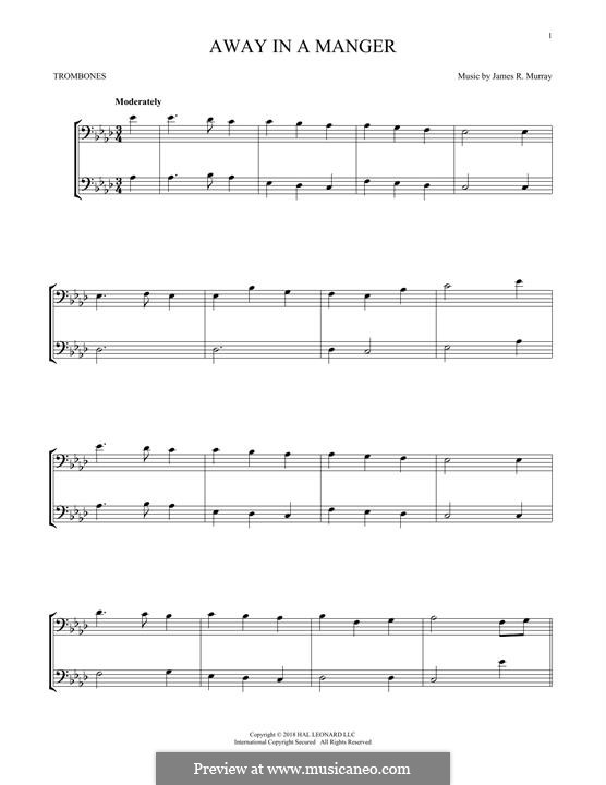 Away in a Manger (Printable Scores): For two trombones by James R. Murray