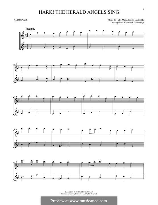 Hark! The Herald Angels Sing: para dois alto saxophones by Felix Mendelssohn-Bartholdy