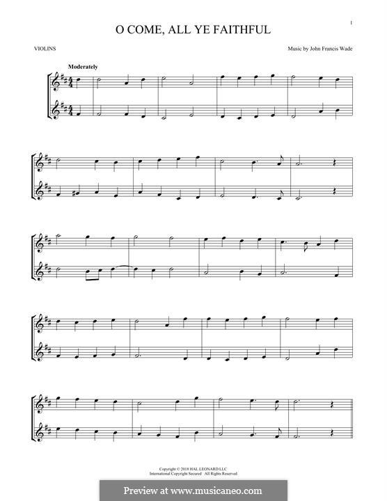 O Come, All Ye Faithful (Printable Scores): para dois violinos by John Francis Wade
