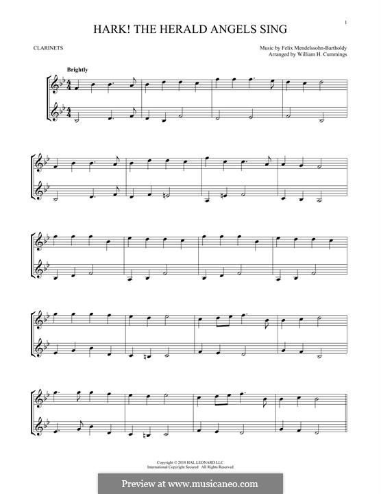 Hark! The Herald Angels Sing: para duas clarinetas by Felix Mendelssohn-Bartholdy