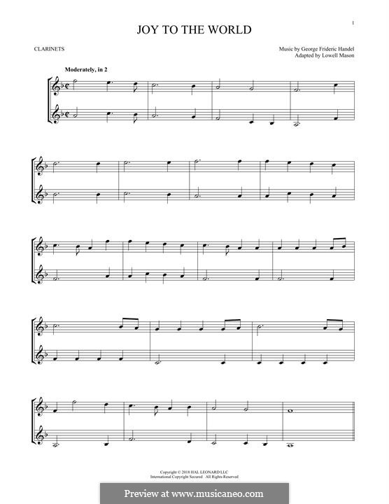 Joy to the World (Printable Scores): para duas clarinetas by Georg Friedrich Händel