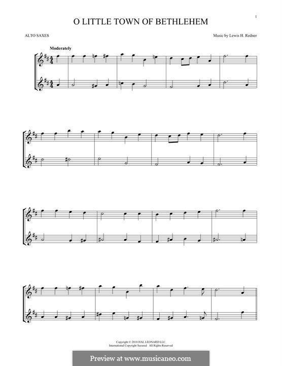 O Little Town of Bethlehem: para dois alto saxophones by Lewis Henry Redner