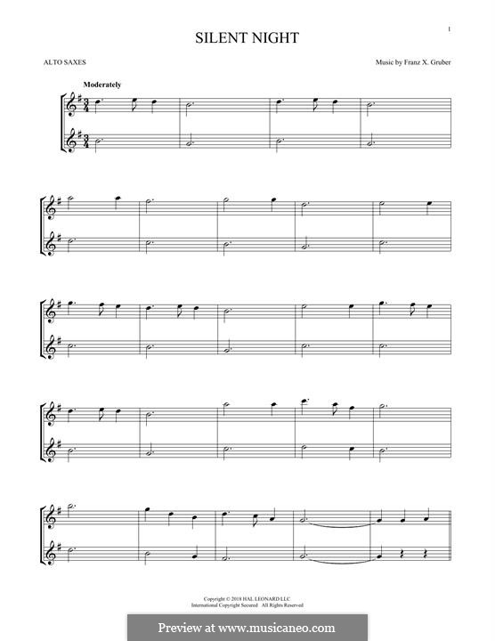 Silent Night, for Two Instruments: para dois alto saxophones by Franz Xaver Gruber