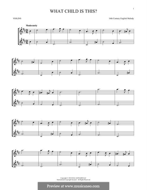 What Child is This (Christmas Carol): para dois violinos by folklore