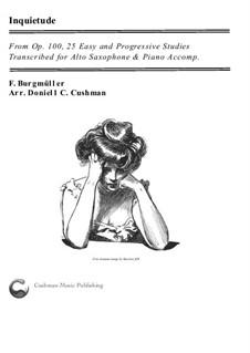 No.18 Inquiétude (Restlessness): para alto saxofone e piano by Johann Friedrich Burgmüller
